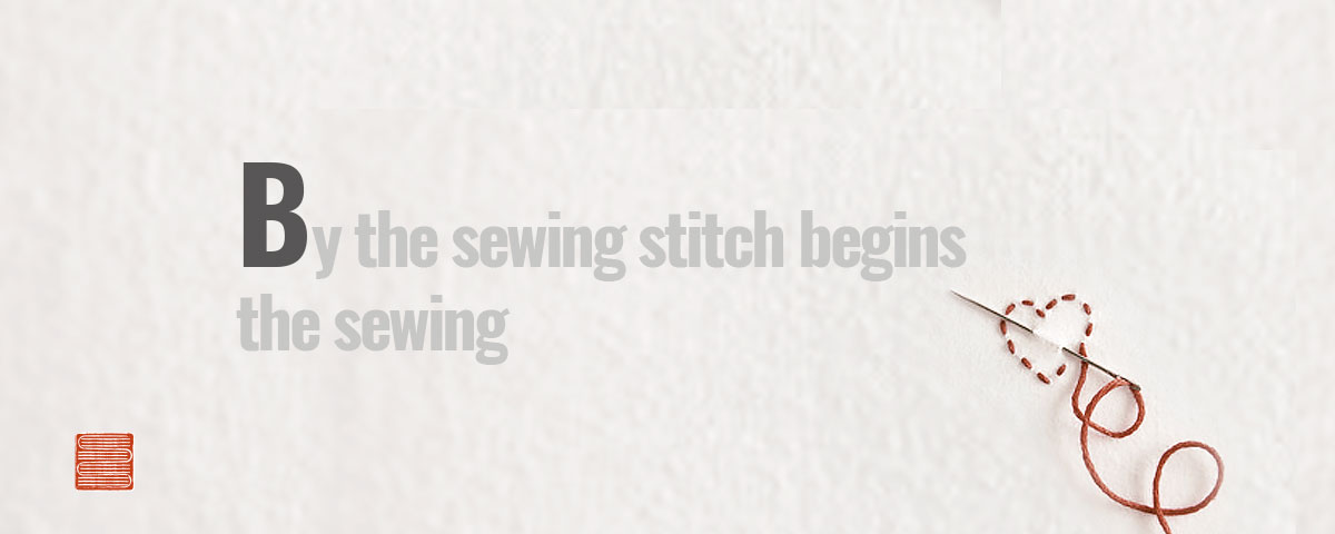 By the sewing stitch begins the sewing