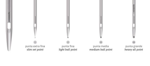 La punta de la aguja en punta redonda y de bola