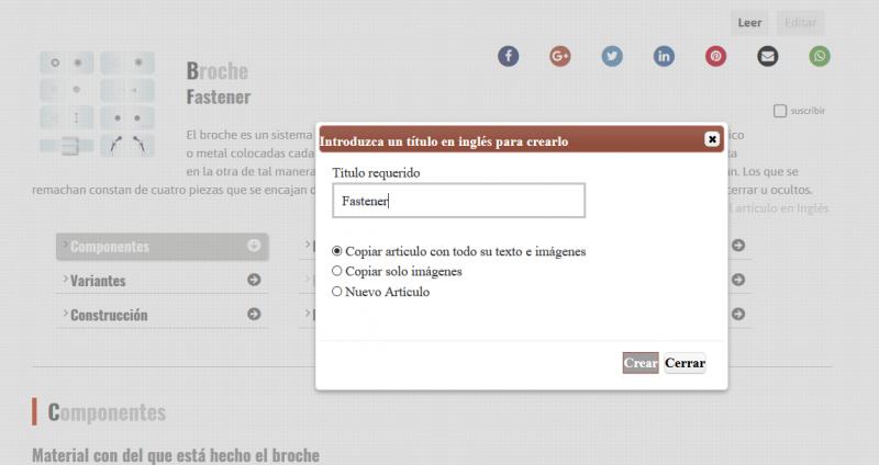opciones de editor de traducción y