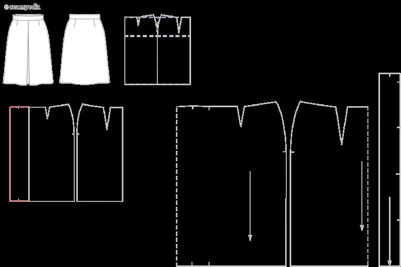 4-9 falda pliegue encontrado inverted pleat skirt patron pattern