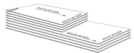 Extendido de la marcada en escalon para la confeccion