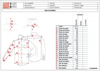 Ficha técnica tabla de medidas