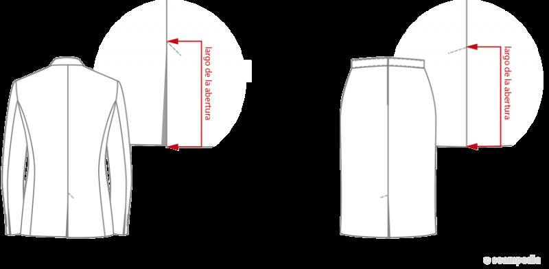 ancho abertura de la espalda Back vent width